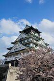 Osaka castle with the cherry blossoms  — Zdjęcie stockowe