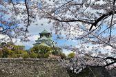 Zamek Ōsaka z wiśni — Zdjęcie stockowe