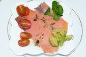 Plate of Salmon, Tomato and Salad — Stock Photo