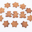 Homemade Ginger Cookies. Plain Tree Gingerbread Men and Stars — Stock Photo