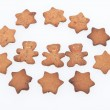 Homemade Ginger Cookies. Tree Gingerbread Men and Stars — Stock Photo