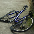 Deformated bicycle after accident - Foto Stock