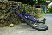 Deformated bicycle after accident — Stock Photo