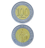 One hundred Albanian Leke coin — Stock Photo