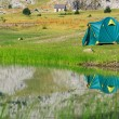 Tourist tent stands on the green meadow near the lake — Stock Photo