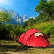 Tourist tent in the mountains — Stock Photo