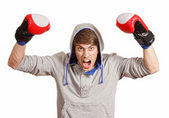 Happy young boxer — Stock Photo