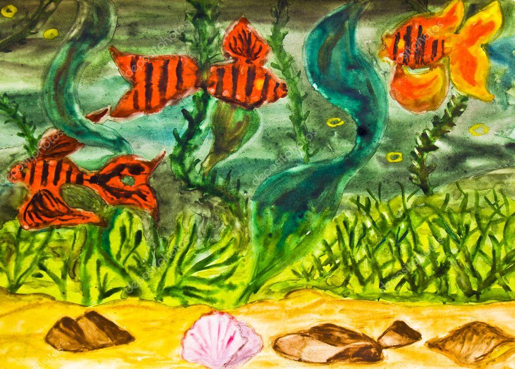 手绘图片,红色的鱼