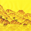 Stock Photo: Brown hills on yellow background, painting