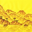 Brown hills on yellow background, painting - Stock Photo