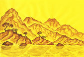 Brown hills on yellow background, painting — Stock Photo