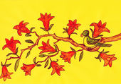 Bird on branch with orange flowers, painting — Stock Photo