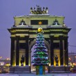 Stock Photo: Christmas tree and Triumphal arch, Moscow