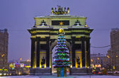 Christmas tree and Triumphal arch, Moscow — Stock Photo