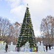 Stock Photo: Christmas tree and ice sculptures, Moscow