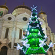 Moscow, Christmas tree and cathedral of Jesus Christ Saviour — Stock Photo