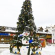 Christmas tree and snowman, Moscow — Stock Photo