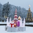 Christmas tree and electric sculptures, Moscow — Stock Photo