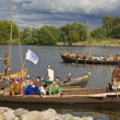 Vikings on boats — Stock Photo