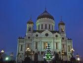 Moskau, Weihnachtsbaum und Jesus Christus-Erlöser-Kathedrale — Stockfoto