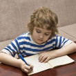 Child writing in notebook — ストック写真