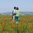 Couple on poppie — Stock Photo