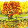 Autumn landscape with red tree, painting — Stock Photo #13710679