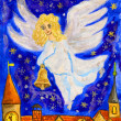 Angel with Christmas bell, painting — Stock Photo