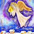 Stock Photo: Angel with candle, painted Christmas picture