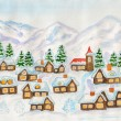 Village in hills in winter, painting — Stock Photo