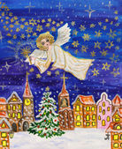 Angel with sparkler, Christmas picture — Stock Photo