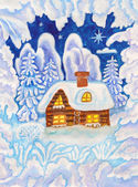 House in snow frame, painting — Stock Photo