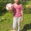 Girl standing with ball — Stock Photo #16917809