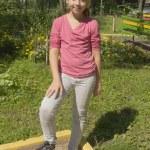 menina com bola — Foto Stock