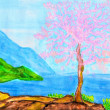 ������, ������: Pink tree on sea coast painting