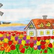 House with tulips (House in Holland), painting — Stock Photo