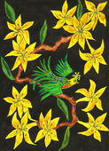 Bird on branch with yellow flowers, painting — Stock Photo