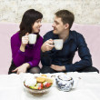 Couple drinking tea — Stock Photo
