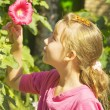 Stock Photo: Portrait of girl with red mallow