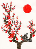 Bird on branch with red flowers, painting — Stock Photo