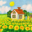 House with yellow dandelions — Stock Photo #19524471
