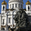 Moscow, cathedral of Jesus Christ Saviour and lion - Stock Photo
