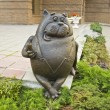 Moscow, statue to cat with sausage - Stock Photo