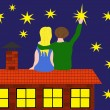 Couple on roof with stars — Stockvectorbeeld
