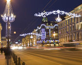 St. Petersburg, Nevskiy prospectus at night — Stock Photo
