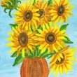 Sunflowers, painting — Stock Photo