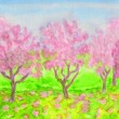 Pink spring garden, watercolours - Stock Photo