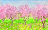 Aquarelles jardin, printemps rose — Photo