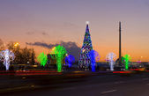 Christmas tree and electric trees, Moscow — Stock Photo