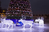 Electric deers on Christmas, Moscow — Stock Photo